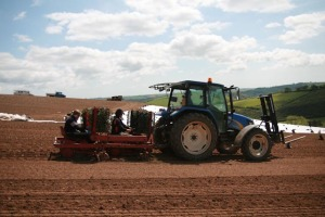 Tractor and planter at Wash Farm, Devon