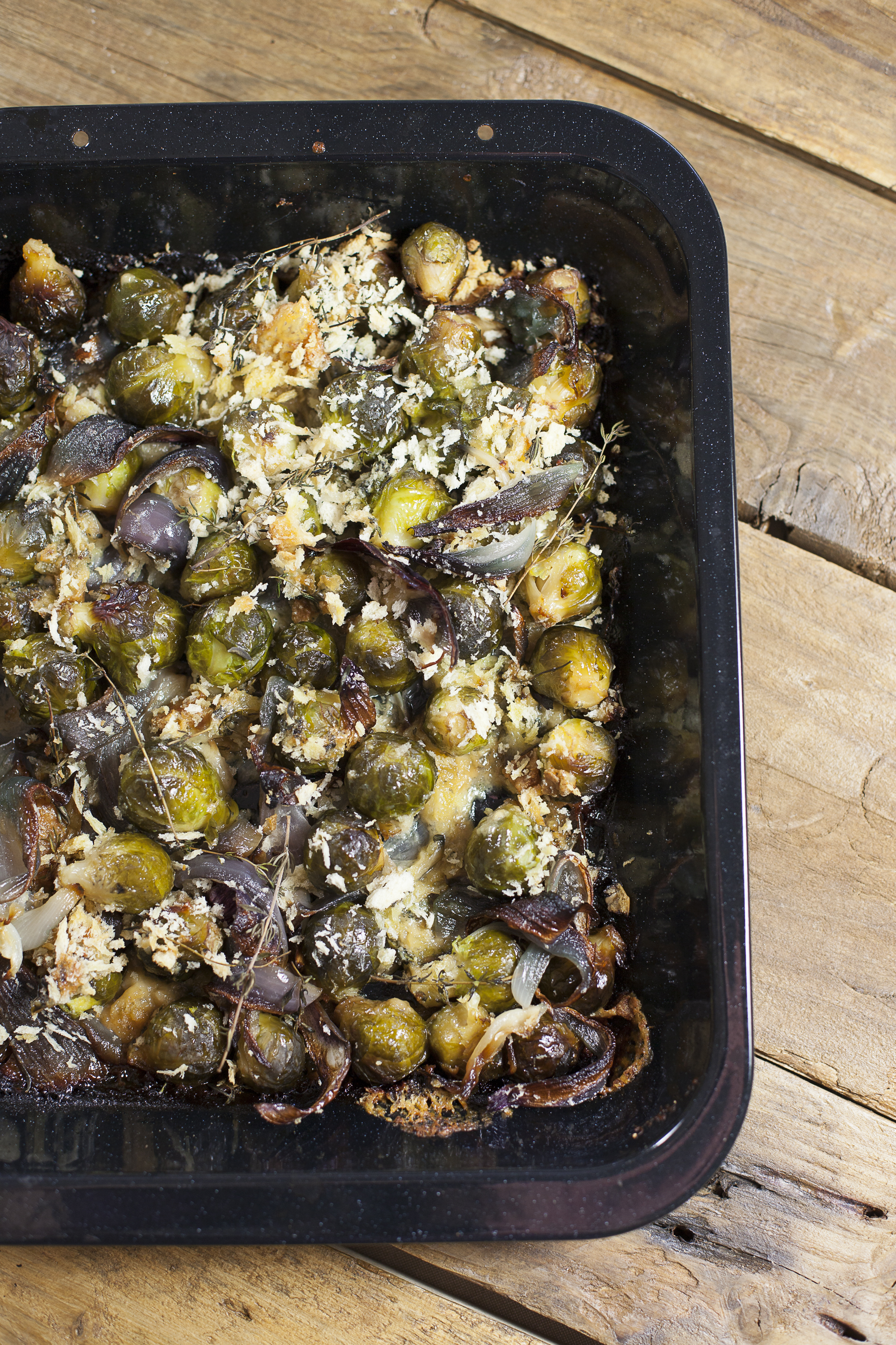 brussels sprout, red onion & blue cheese gratin